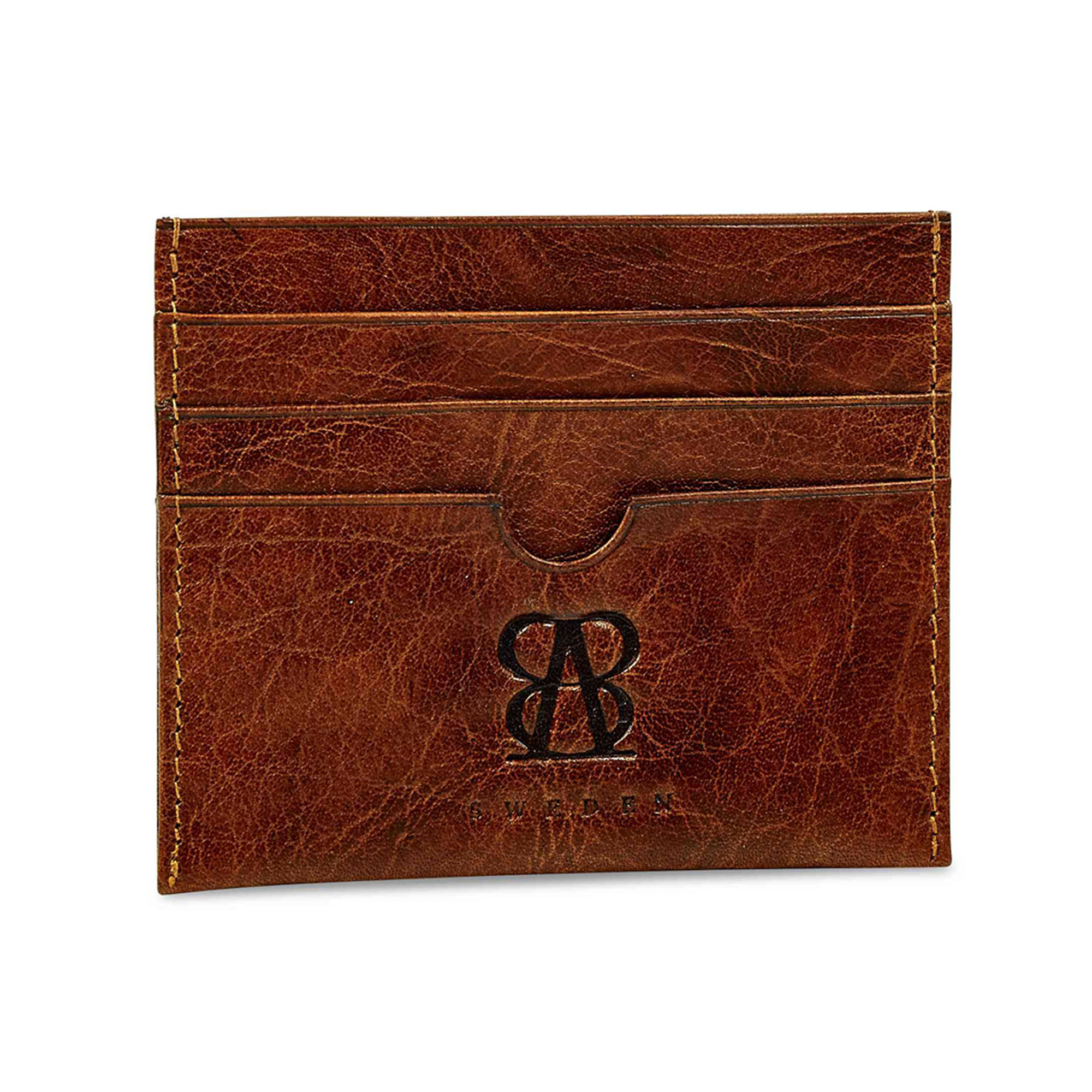 Exclusive wallet in waxed leather with 7 compartments and one pocket for banknote.