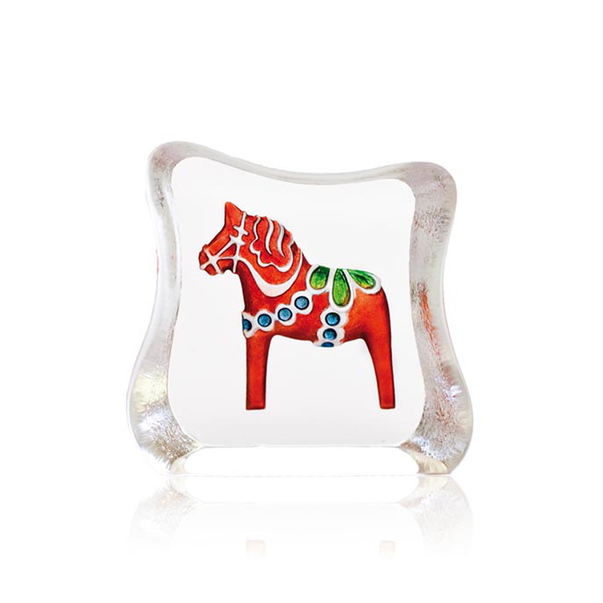 The Dalicarlian horse is a traditional symbol of Sweden. The Dalicarlian horse has its origin in the Swedish province of Dalarna and was first made as a toy for children in the 17th century. Available in Blue or Red.