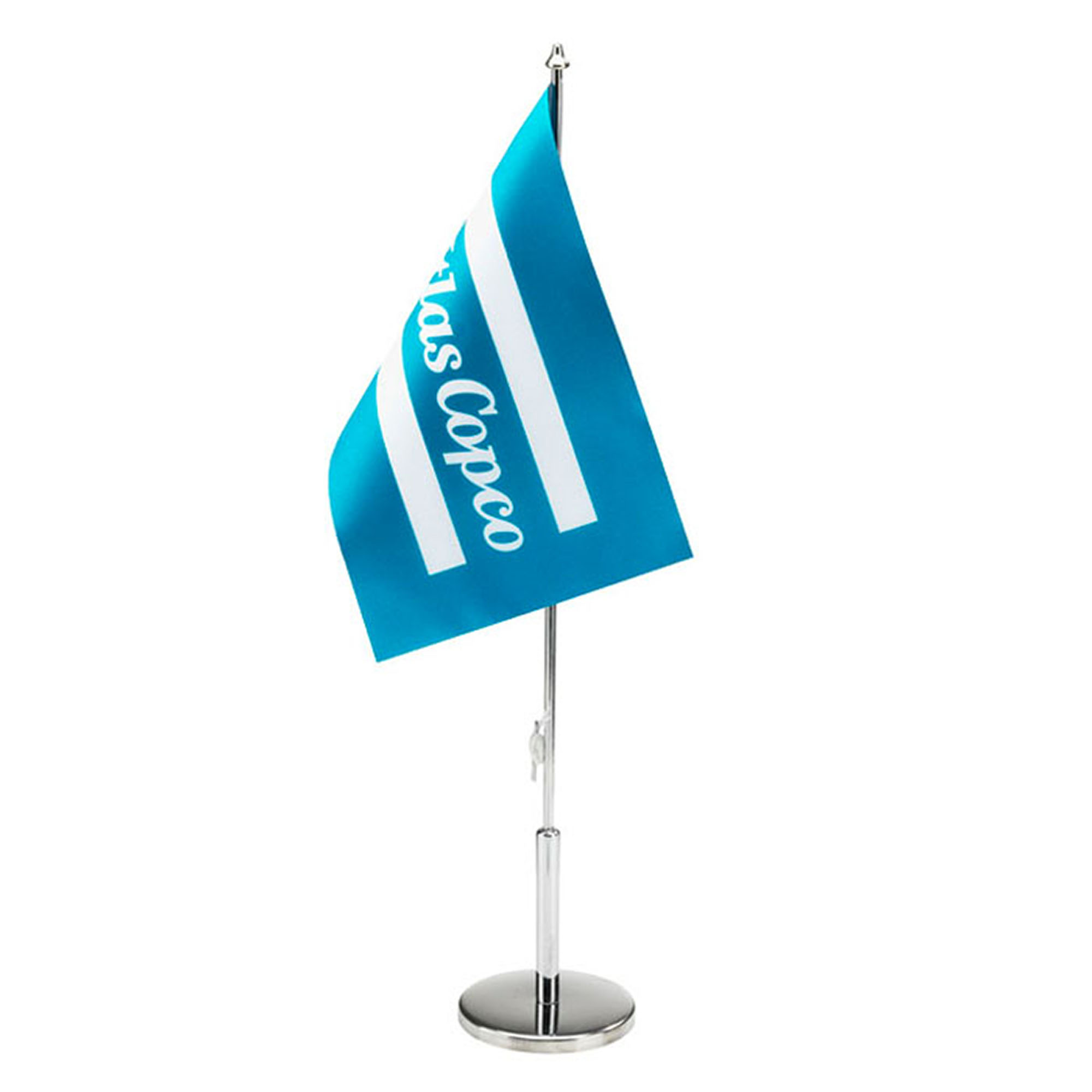 Table flag with metal pole and foot. A perfect item to have standing at the reception desk, office desk or at a conference table to show the company brand.