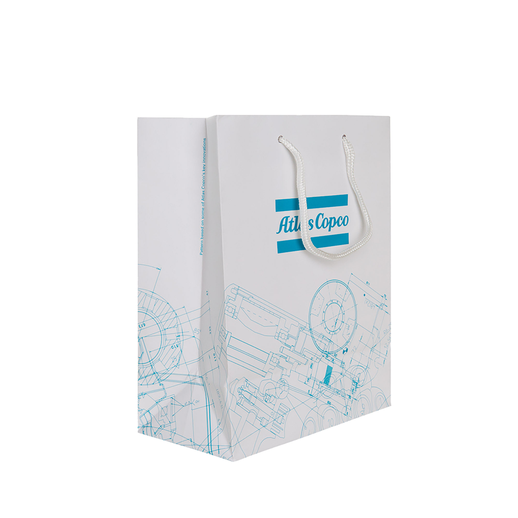 "A high quality gift bag with a laminated surface and string handles. Use it as a ""gift box"" for your branded items or product catalogues. The BluePrint pattern is based on Atlas Copco´s key innovations. By merging original blueprints from all business areas, a unique graphic pattern has been created."