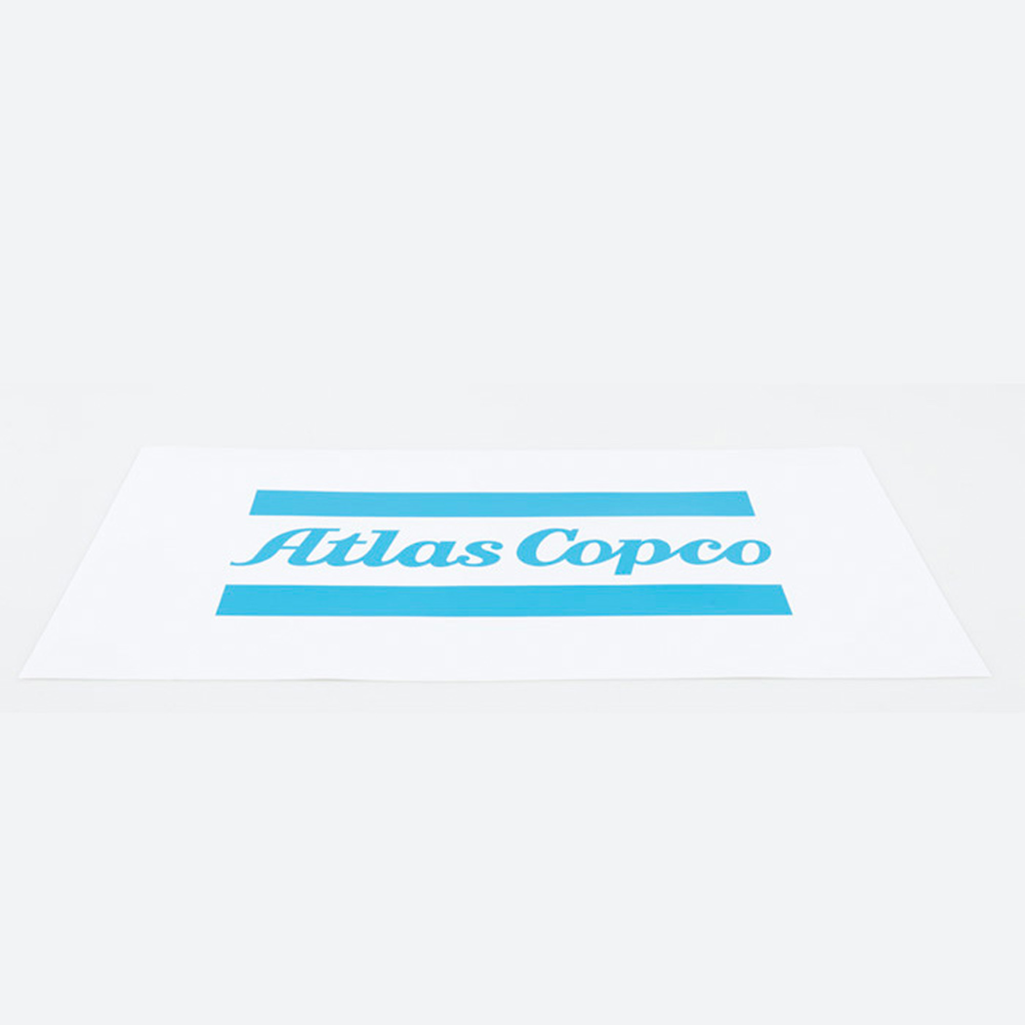 A white vinyl sticker with Atlas Copco logo.