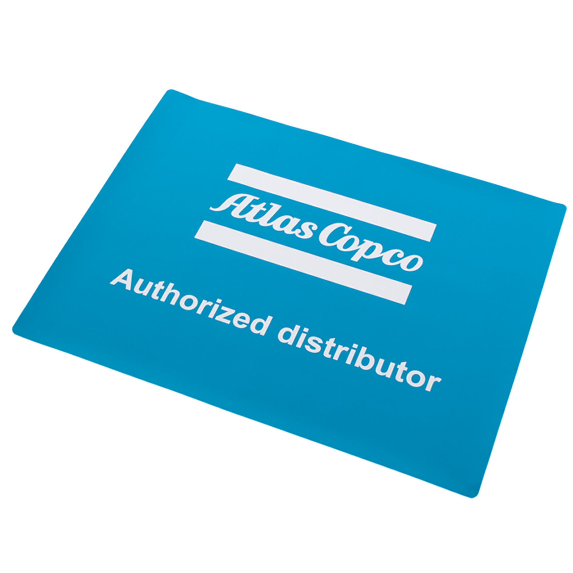 Floor sticker with the Atlas Copco Authorized Distributor logo. Special coating that makes it more durable against abrasion. Slit on the back for easy attachment.
