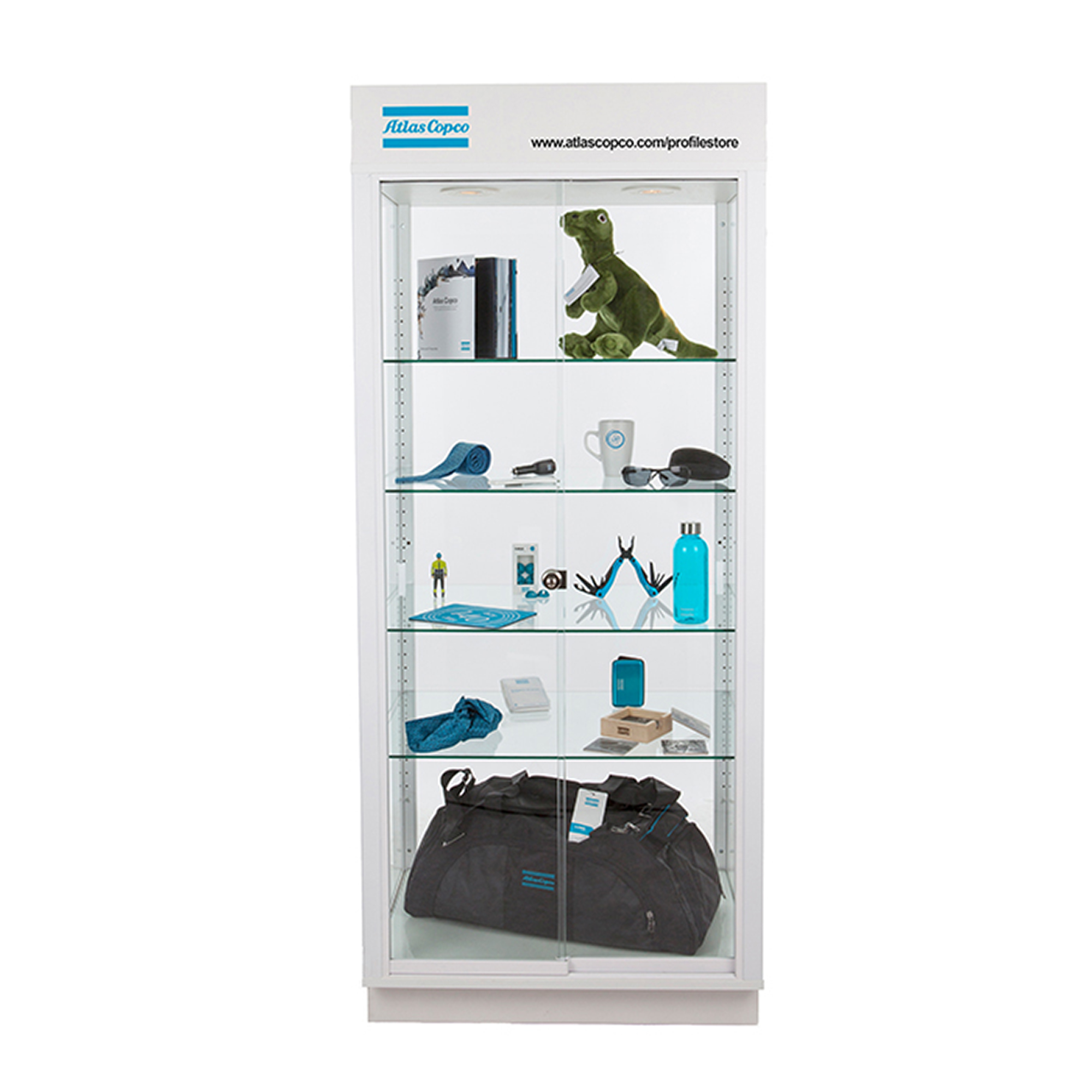 Fitted with lockable sliding doors and 4 adjustable glass shelves. Two halogen spots ensure focus is placed on display products. The case is mounted and ready to use immediately following delivery. Delivered without products. Please note, we are unable to combine shipment of displays with other products at Profile Store.