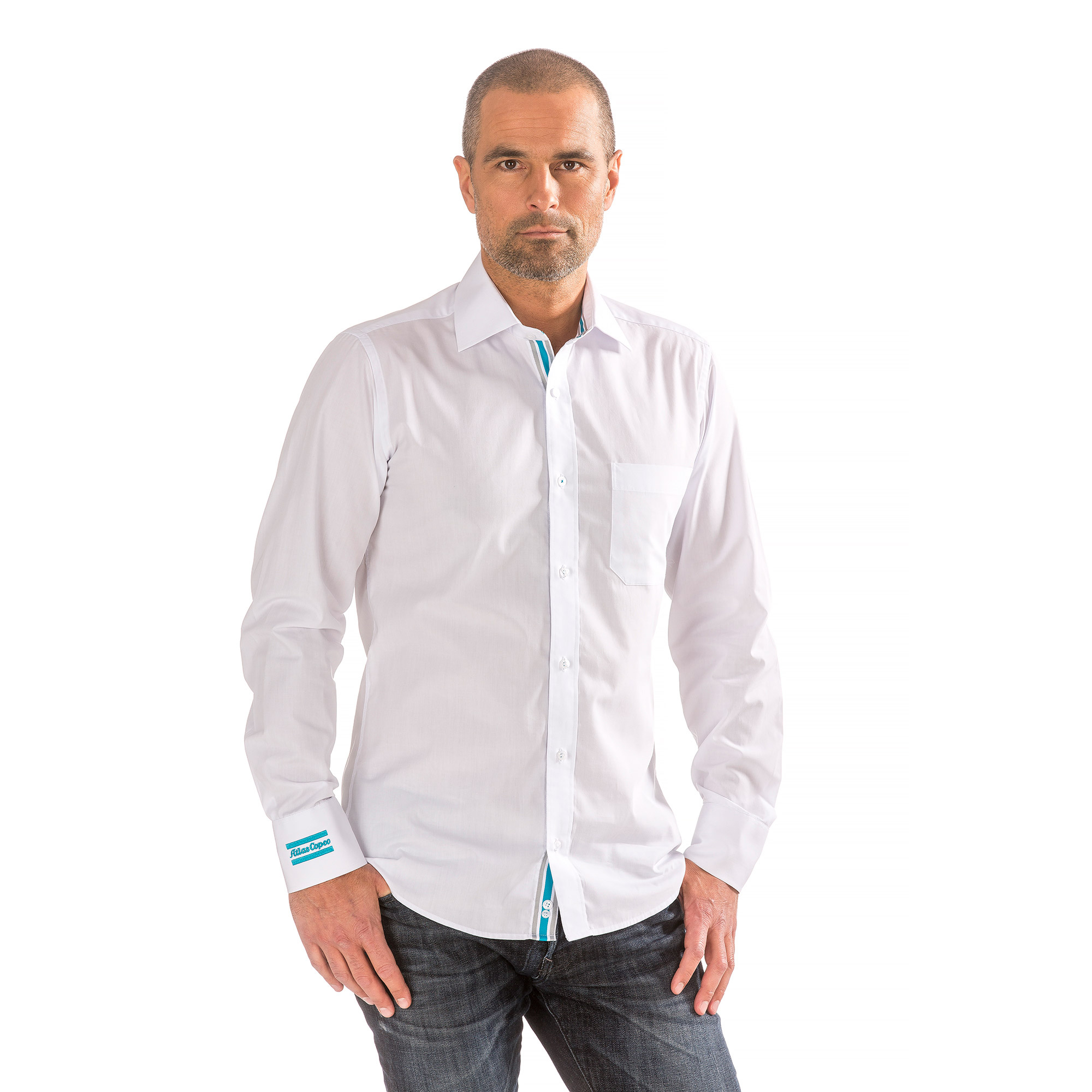 This versatile shirt gives you the possibility of wearing it strictly as business white or as something more casual. Details such as woven ribbons on the inside collar, placket, and cuffs makes this shirt special. The shirt is crafted from cotton and poplin and tailored for a comfortable fit.