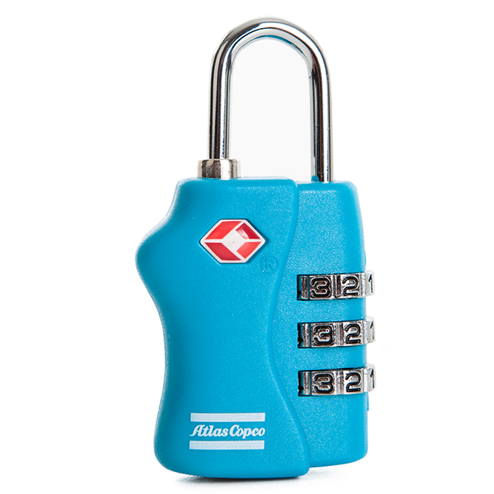 An Atlas Copco branded (TSA) Travel Sentry Approved combination lock to keep the contents of your luggage safe*. Use it whenever you travel over borders by air or other means. It is high-quality and approved by airport security authorities around the world. *A Travel Sentry Approved (TSA) padlock is one that is approved for use by airport security authorities around the world. If security officials at the airport wish to open and inspect your luggage, they can unlock your baggage and re-lock when the inspection is complete.