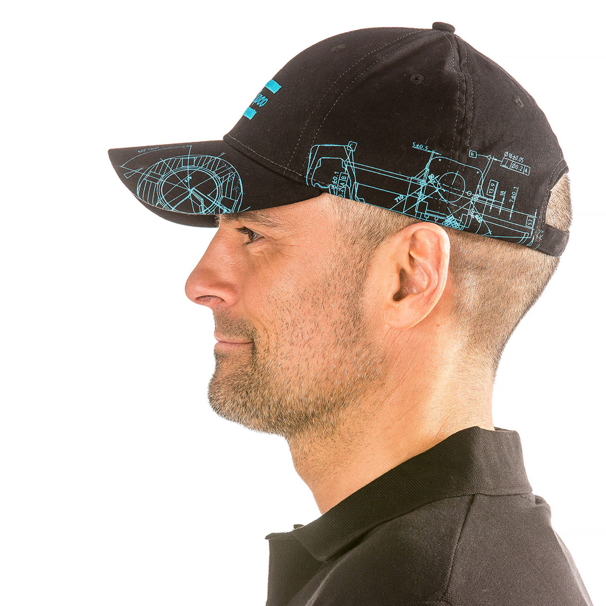 This cap has been developed to obtain the best fitting possible. The fabric is made of Cotton and Spandex which makes the Cap slightly elastic. An adjustable metal buckle together with the elastic fabric makes the cap versatile. The cap has a precurved visor and six panels with air ventilation. The BluePrint pattern is based on Atlas Copco´s key innovations. By merging original blueprints from all business areas, a unique graphic pattern has been created.