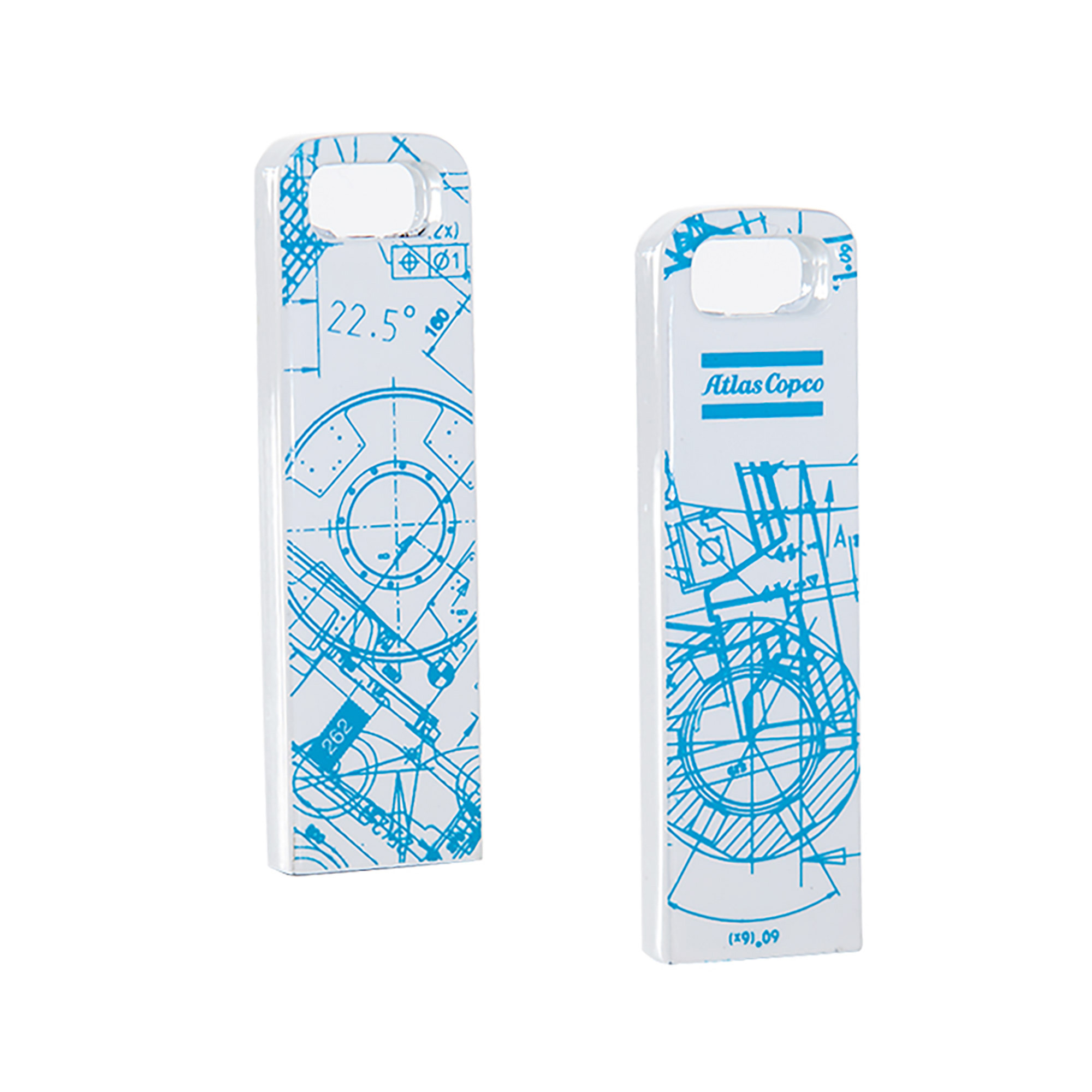 <p>This small USB helps you store and move your files, pictures and documents in style. The BluePrint pattern is based on Atlas Copco´s key innovations. By merging original blueprints from all business areas, a unique graphic pattern has been created.</p>