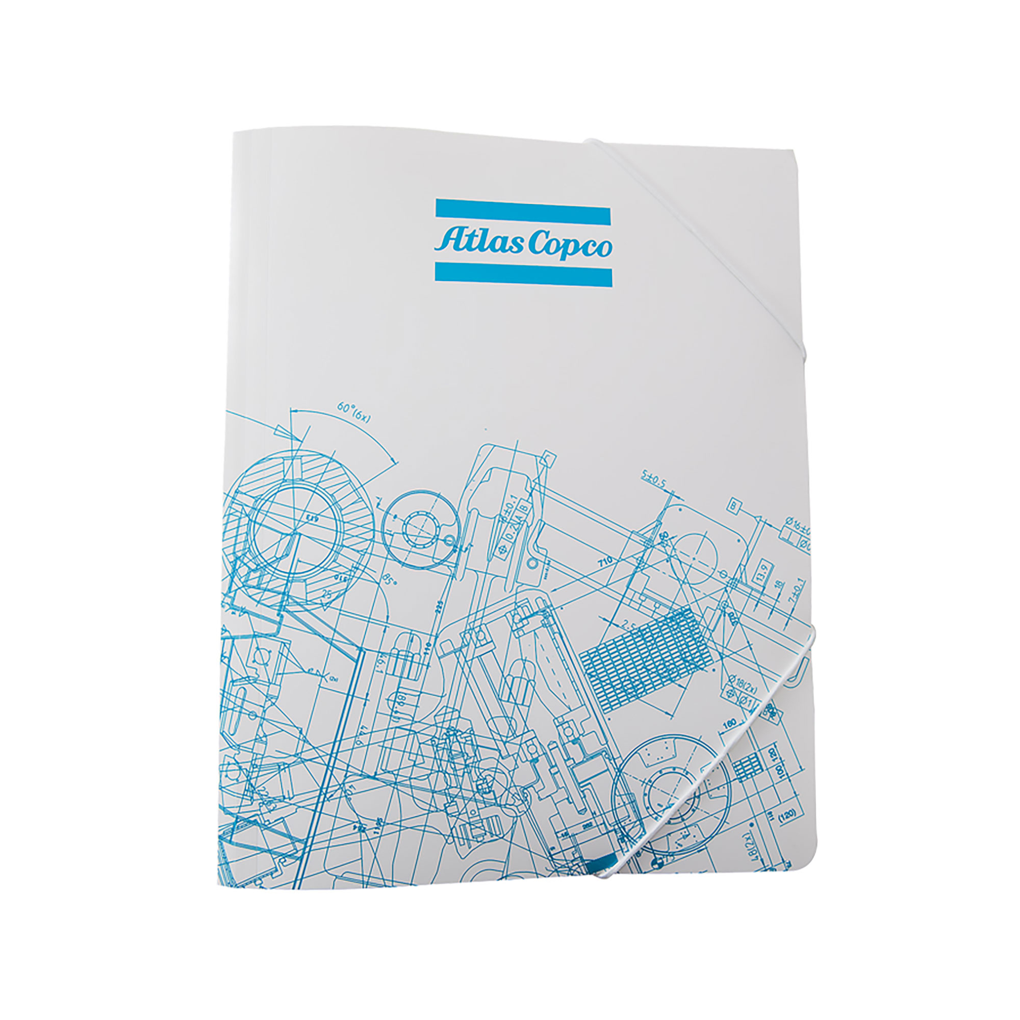 A4 conference folder in 0,6 mm white PP plastic. A string is used for keeping the folder closed. The BluePrint pattern is based on Atlas Copco´s key innovations. By merging original blueprints from all business areas, a unique graphic pattern has been created.