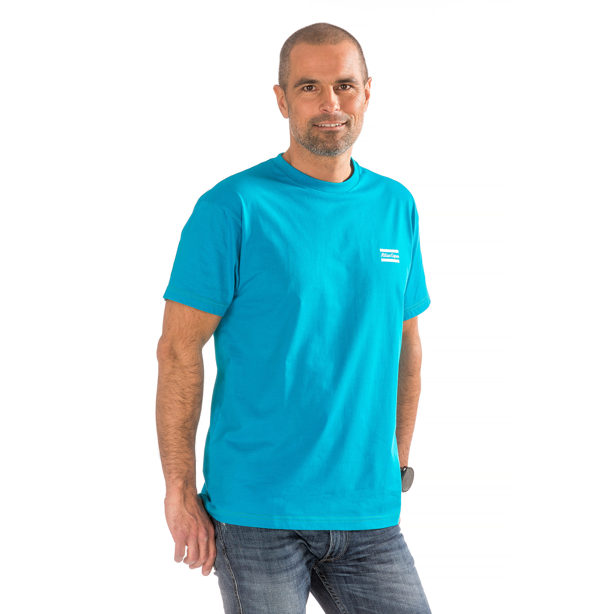 A 100% organic cotton t-shirt in Atlas Copco blue.