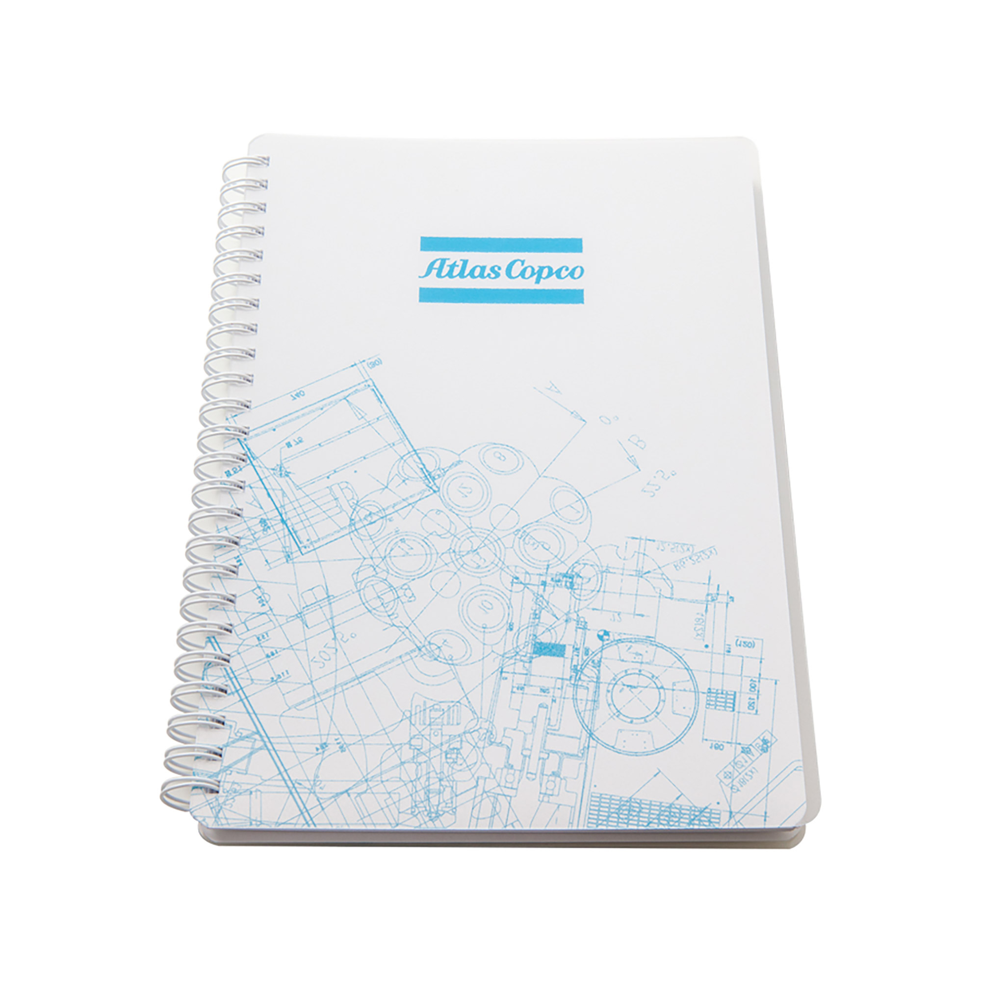 Notebook in A5 size with 80 lined papers with a transparent PP plastic cover for extra protection. The BluePrint pattern is based on Atlas Copco´s key innovations. By merging original blueprints from all business areas, a unique graphic pattern has been created.