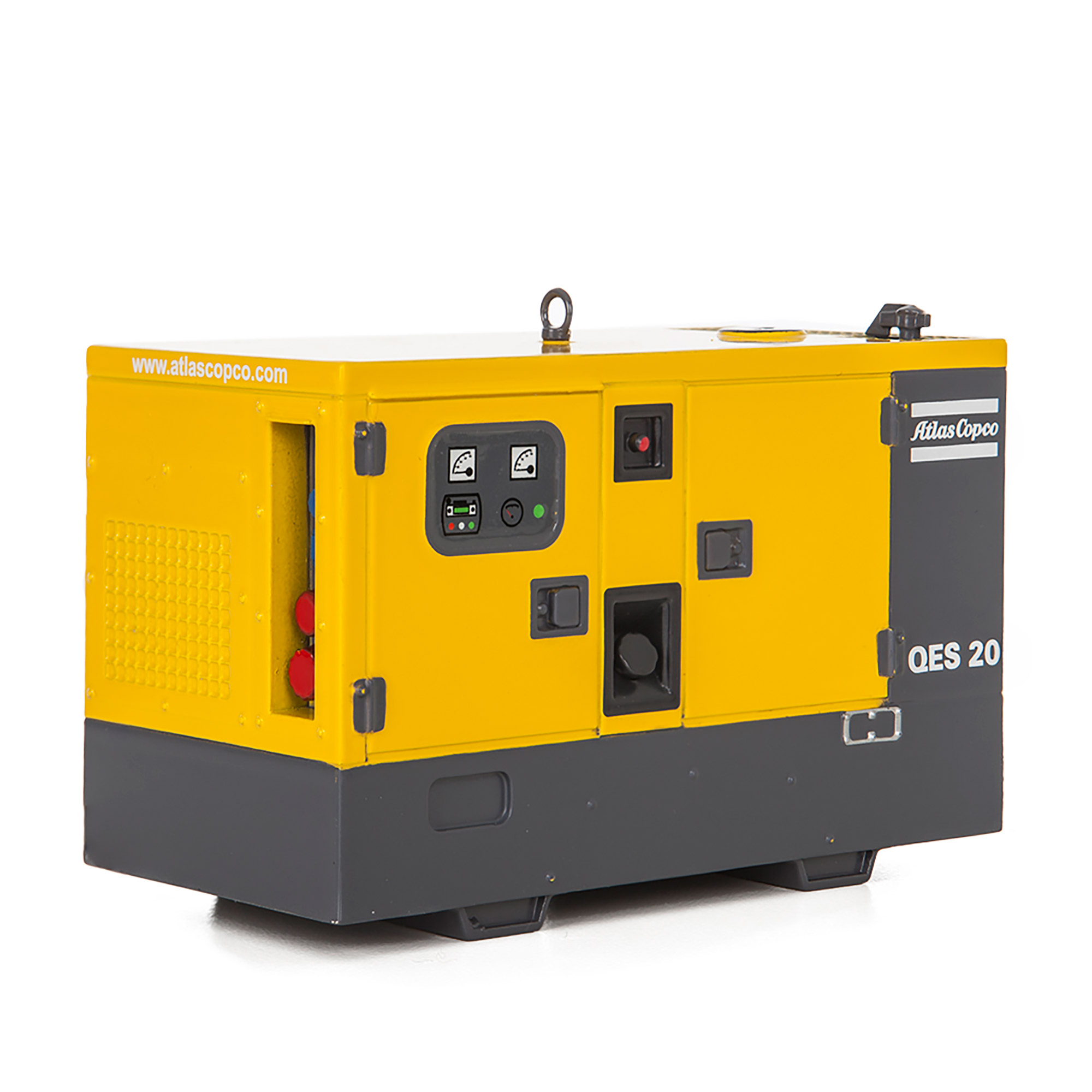 Detailed scale model of the generator QES 20. Dependable power for the toughest worksites. Specifically developed for the construction and general rental industries, the QES range is easy to use and straightforward to maintain. It´s the perfect Predictable Power choise, even for the most demanding worksites.