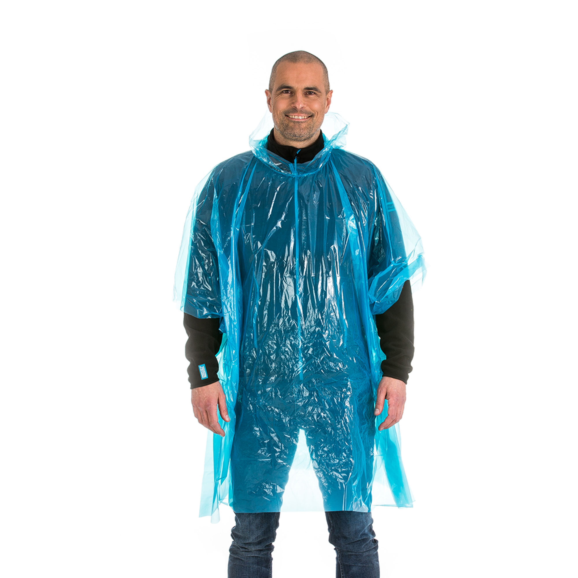 <p>Disposable rain poncho with hood. Great at outdoor events. Packed in a polybag.</p>