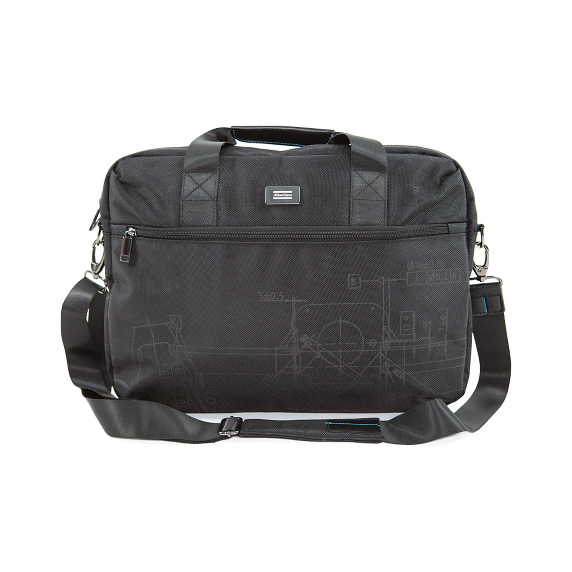 A stylish and slim executive bag with Blueprint pattern designed to carry your laptop, documents, notebook and other small essentials in style. The laptop compartment provides all-round protection and several easy-access pockets let you organize the other things you have with you. You can attach or detach the shoulder strap. On the back of the bag, there is a smart magnetic shoulder strap fastener and a function for hanging the bag securely on a travel trolley.