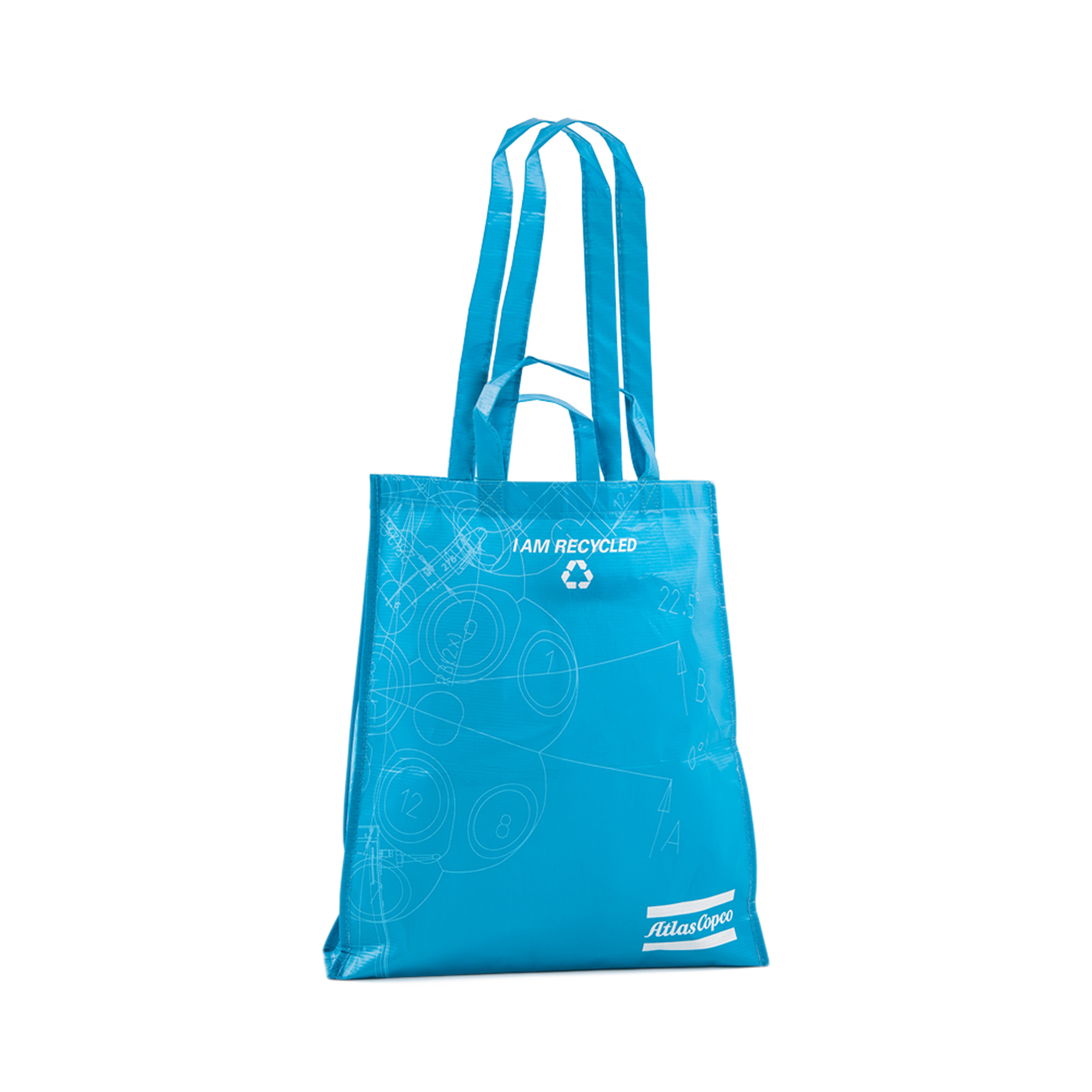 This BluePrint non-woven bag are made from recycled PET bottles The bag are popular for events, conferences, expos and tradeshows.