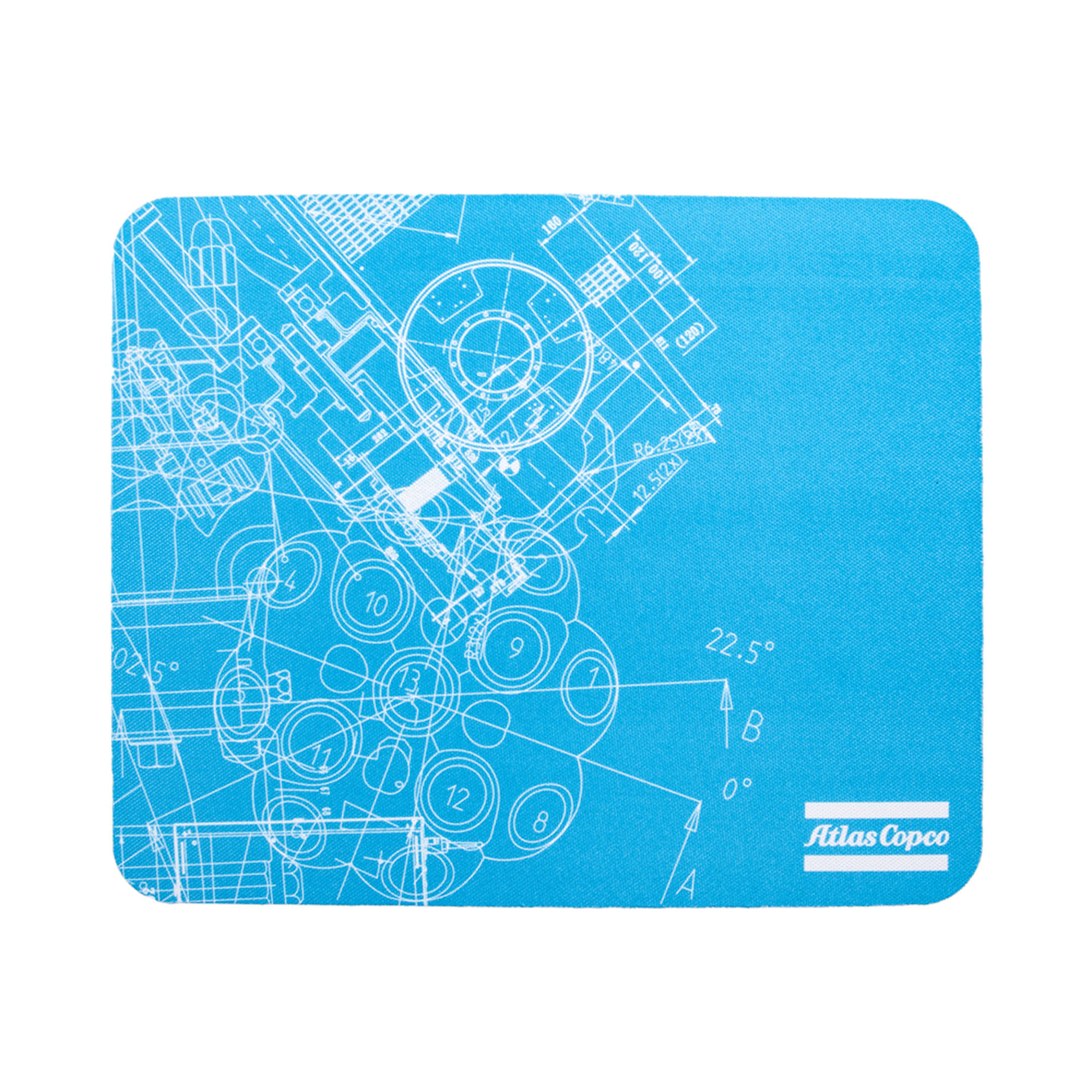 <p>A mouse pad made of degradable rubber, a more environmental friendly alternative. The BluePrint pattern is based on Atlas Copco´s key innovations. By merging original blueprints from all business areas, a unique graphic pattern has been created.</p>
