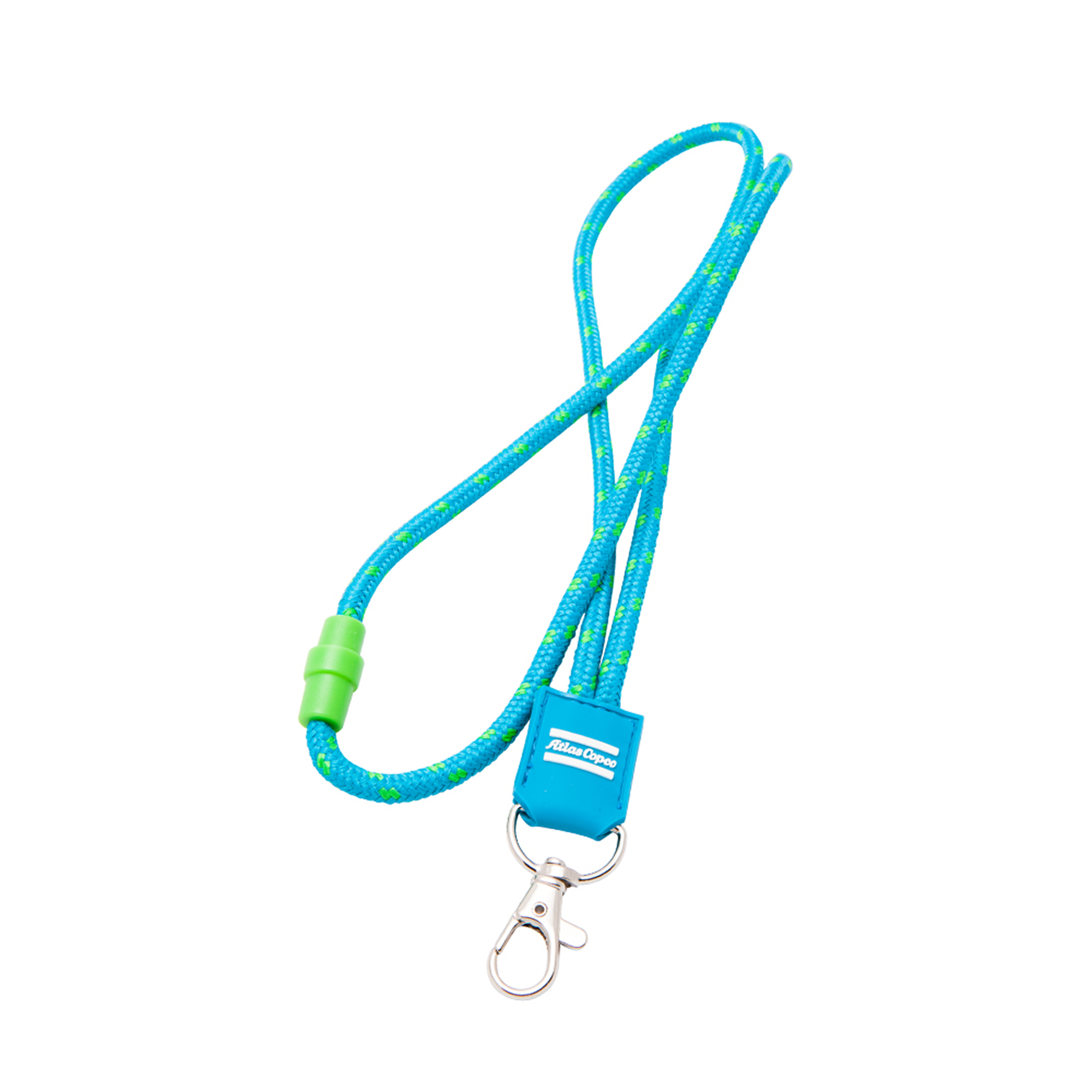 The lanyard string is made from recycled polyester and it is equipped with an effective safety clip. An Atlas Copco logotype is embossed in PVC safe rubber and the lanyard is completed with a metal carbine hook.