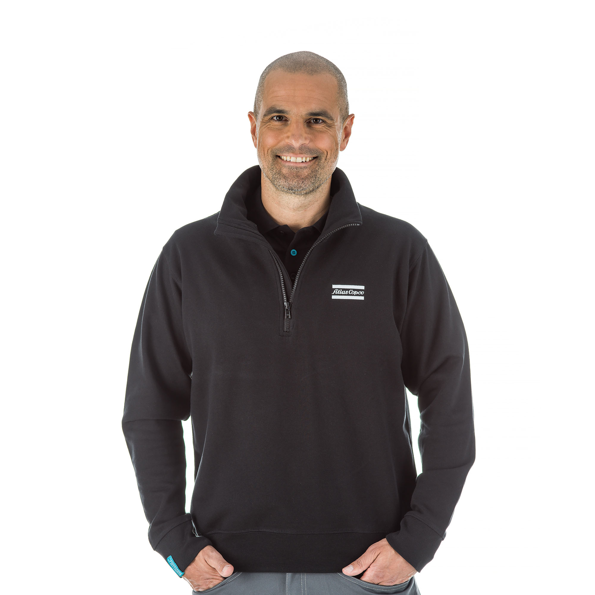 Casual design for everyday comfort. This sweatshirt has a strong, double-needle stitched waistband and Lycra ribbing at sleeve cuffs with the Atlas Copco logo embroidered on the front. This garment can be washed at 60 degrees.<br><br>