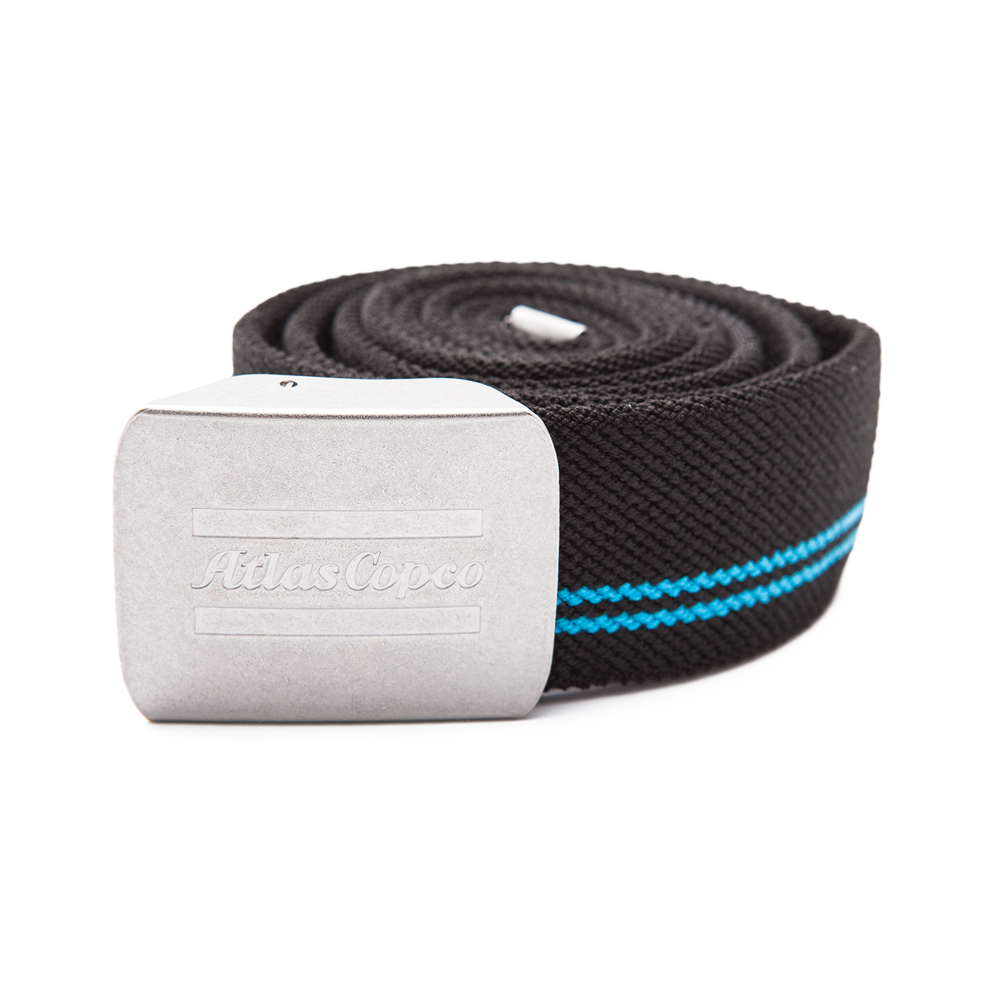 Heavy elastic polyester belt with an adjustable metal buckle. Embossed logo on the buckle.