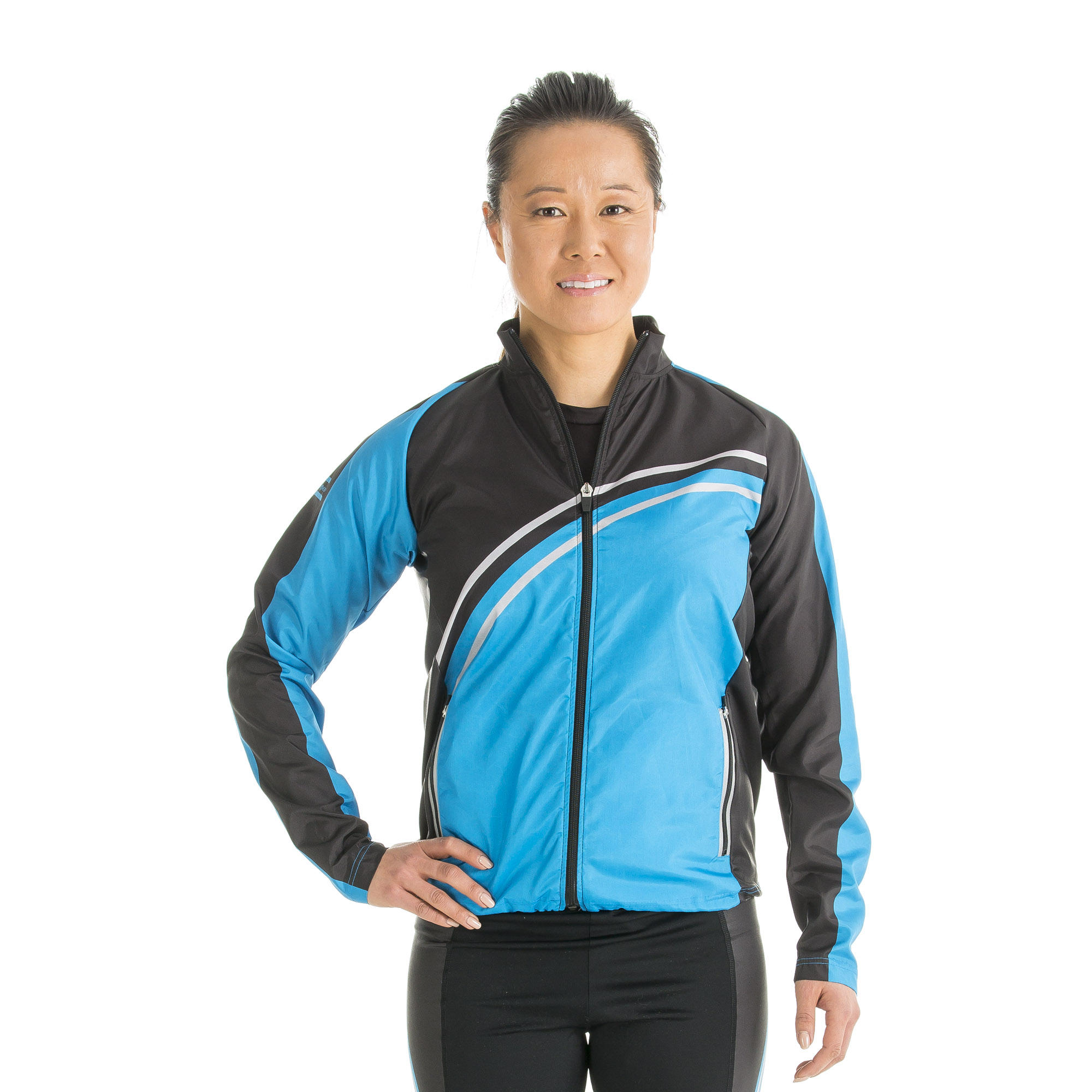 Wind-resistant jacket, with raglan sleeves, side panels, long zip and 2 zippered side pocket on front with integrated reflecting stripe, reflecting stripe centered in the lower back area, side insertions in elastic fabric for more freedom.