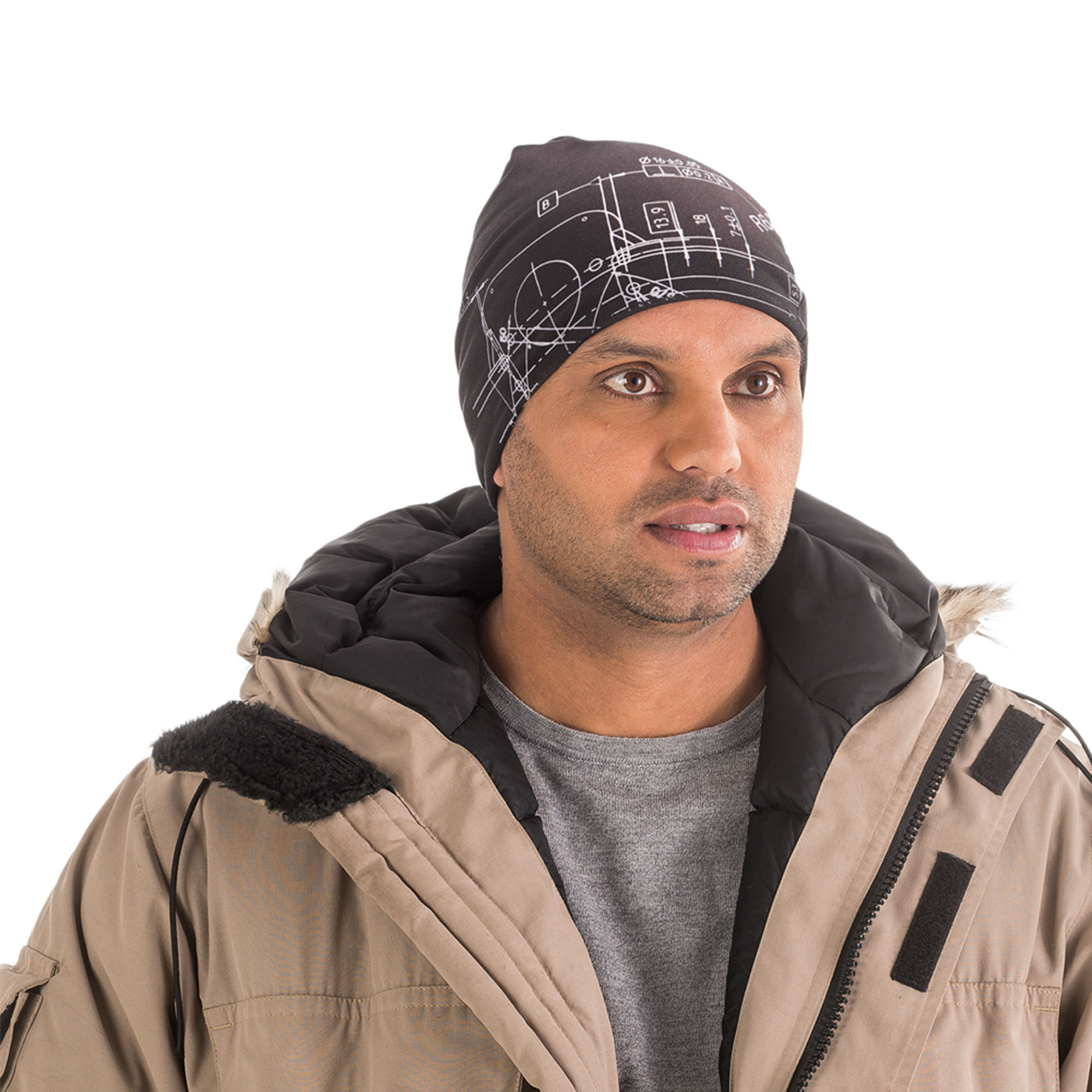 Beanie made in microfiber with reflective contrast stitching. The BluePrint pattern is also reflective. A good mix of safety, design and fabric that can handle performance.