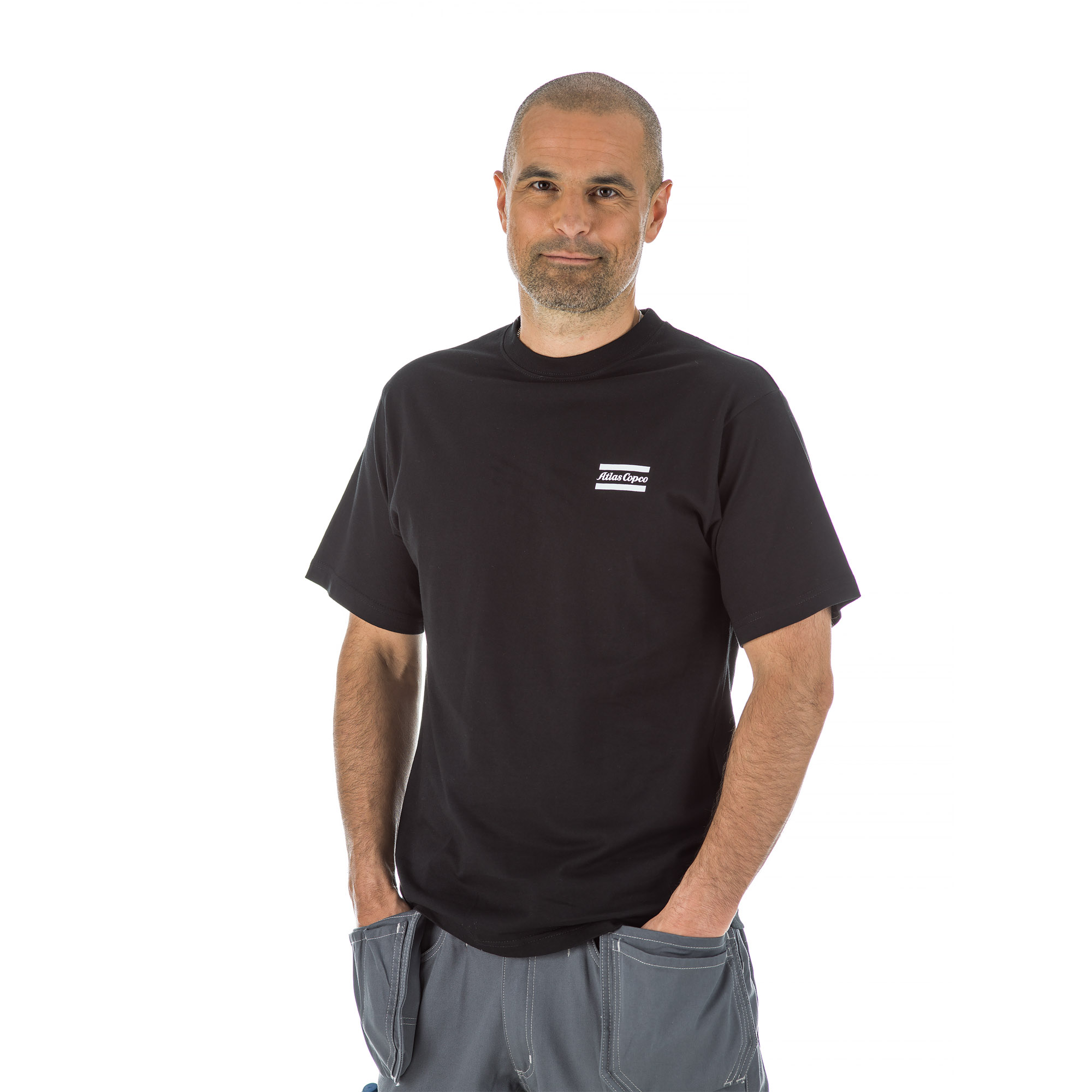 This black t-shirt is tightly knitted for increased comfort, smoothness, and strength. Equipped with shoulder-to-shoulder taping that helps to prevent raveling and rip-out and also durable double-stitched trim.