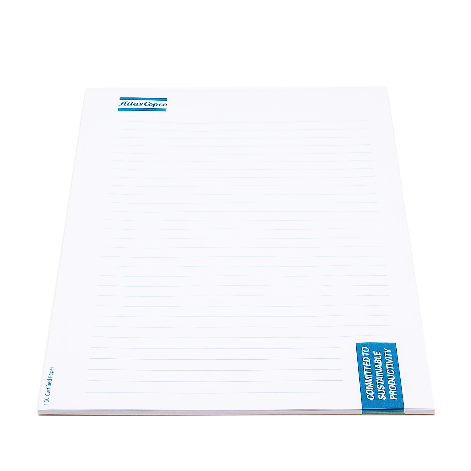 Notepad with a sturdy backside. 80 grams of white striped paper.