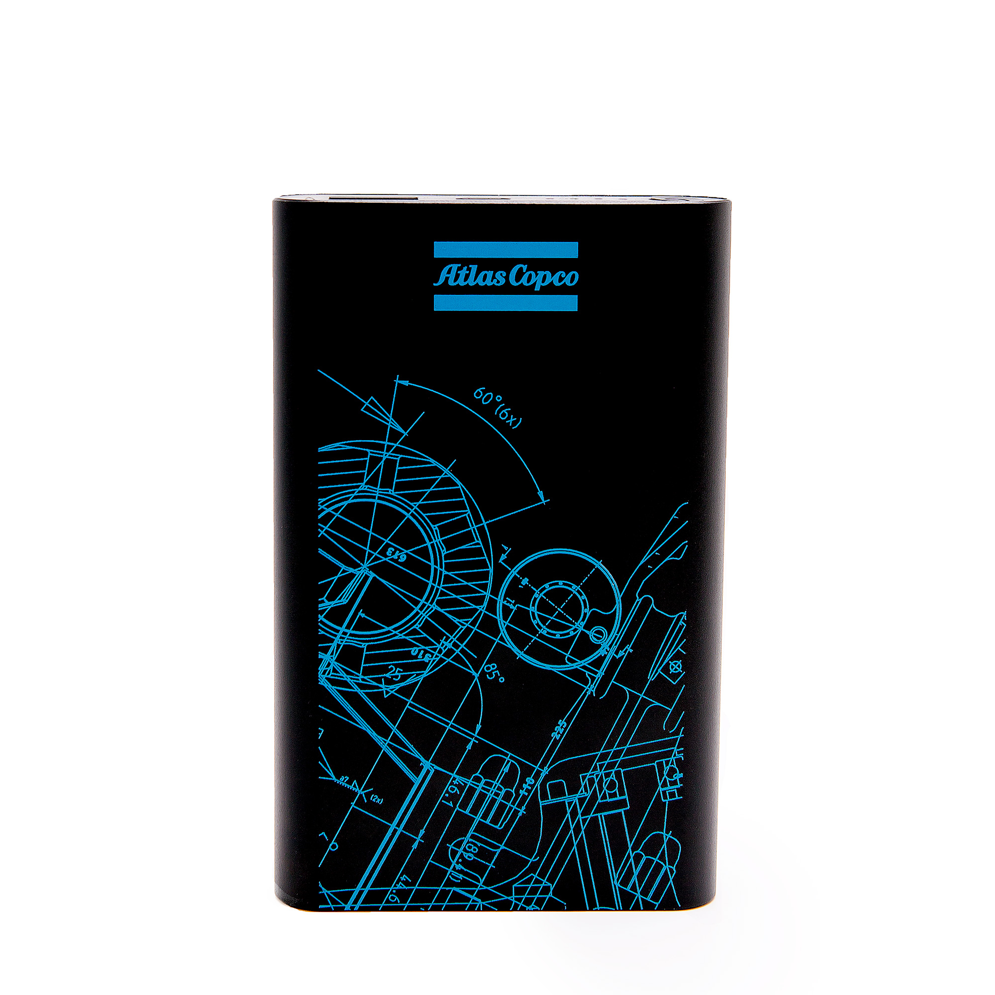 <p>A must have multi charger for your smartphone or other device with USB mini charging connector. Charge the power power bank via the USB charging connector before you travel and you'll always have extra power when you need it. The Atlas Copco BluePrint graphic pattern was created by merging sections of engineering blueprints from all business areas.</p>