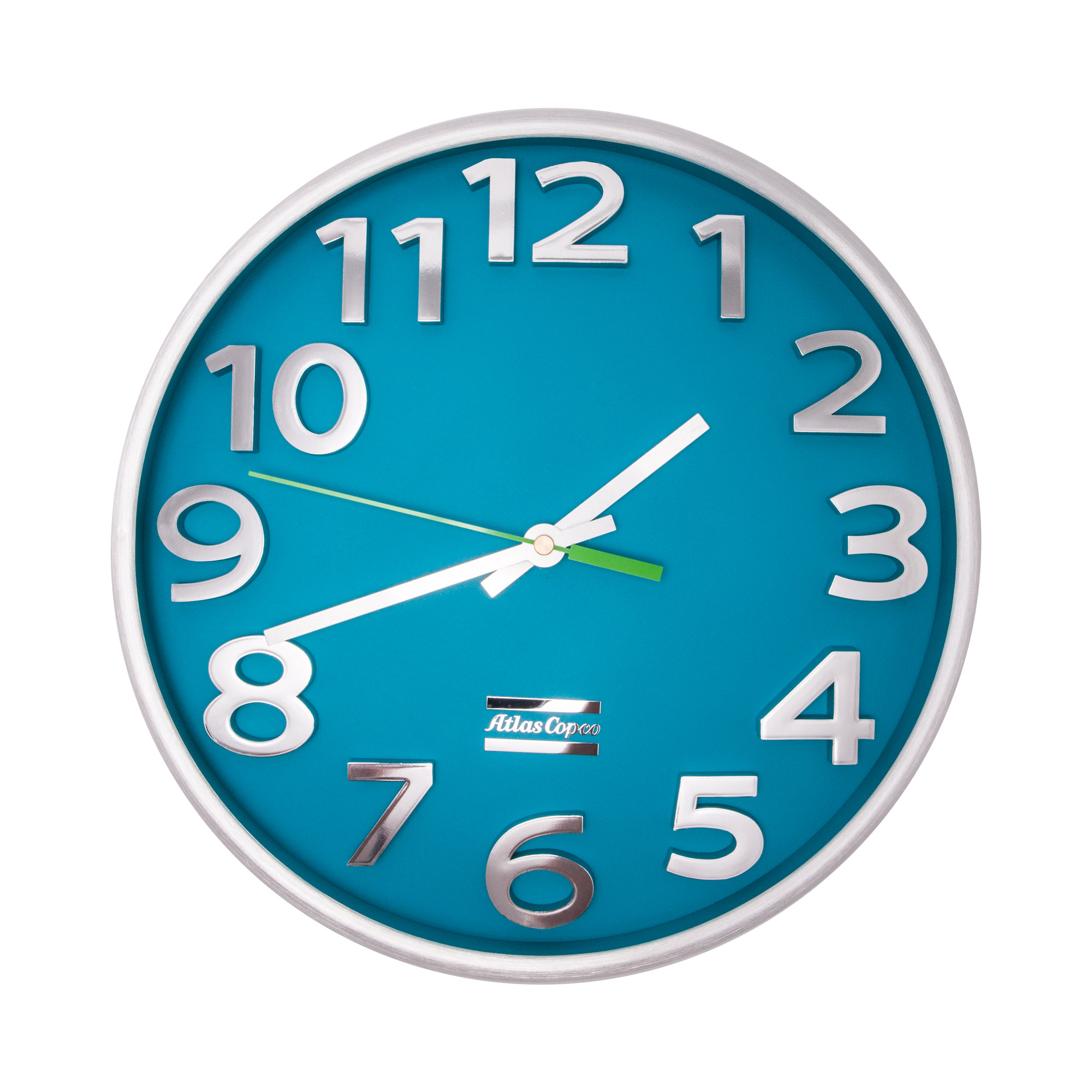 A fashionable Atlas Copco wall clock for any room. This stylish clock has raised chrome digits and a smooth Young Town quartz clock movement.