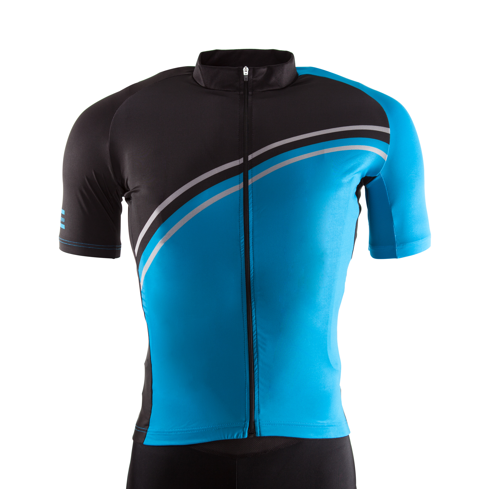 Bike jersey with raglan sleeves,side panels, tapered cut, 3 open back pockets, 1 zippered side pocket with reflecting piping. Fortified collar for improved wearing comfort. Silicone elastic at waist.