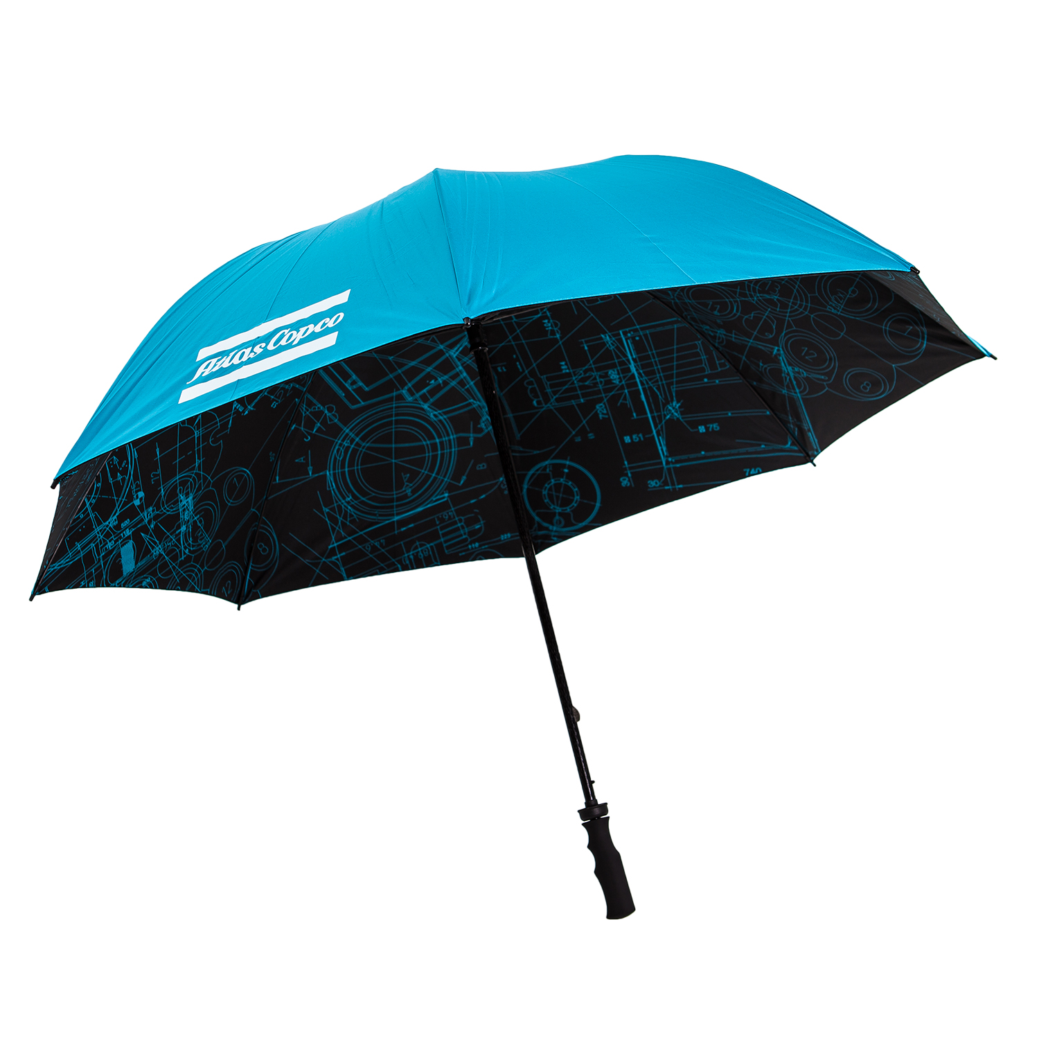 Umbrella made of recycled PET with fiber glass shaft and rubber handle, manual folding. Blueprint pattern on the inside and brand promise together with the Atlas Copco logo printed on one panel each. BluePrint is a pattern based on some of Atlas Copco's key innovations. By merging original blueprints from all business areas, a unique graphic pattern has been created.