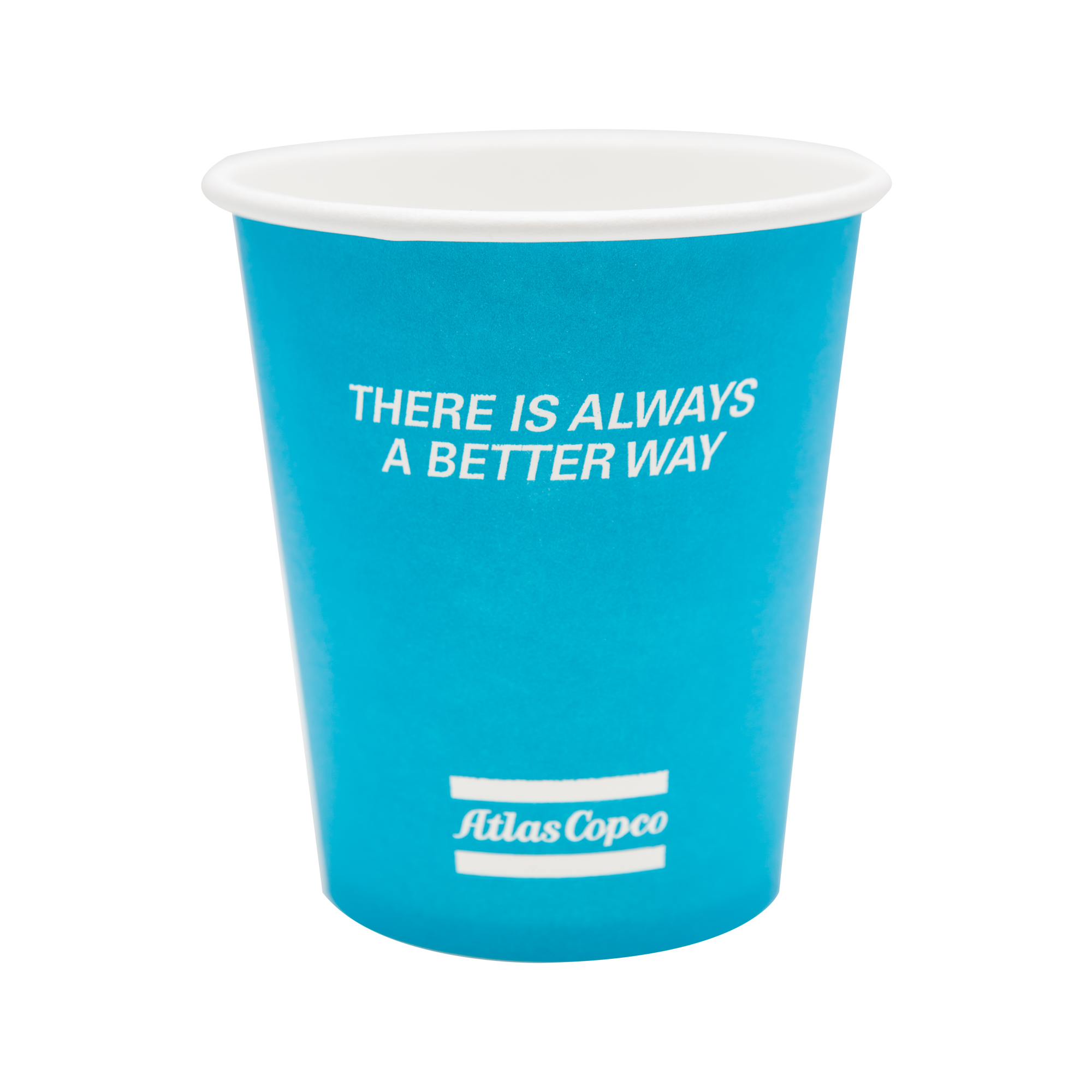 Single wall 25cl/ 9 oz paper cup with printed Atlas Copco design. Produced i PEFC cardboard with PE coating.