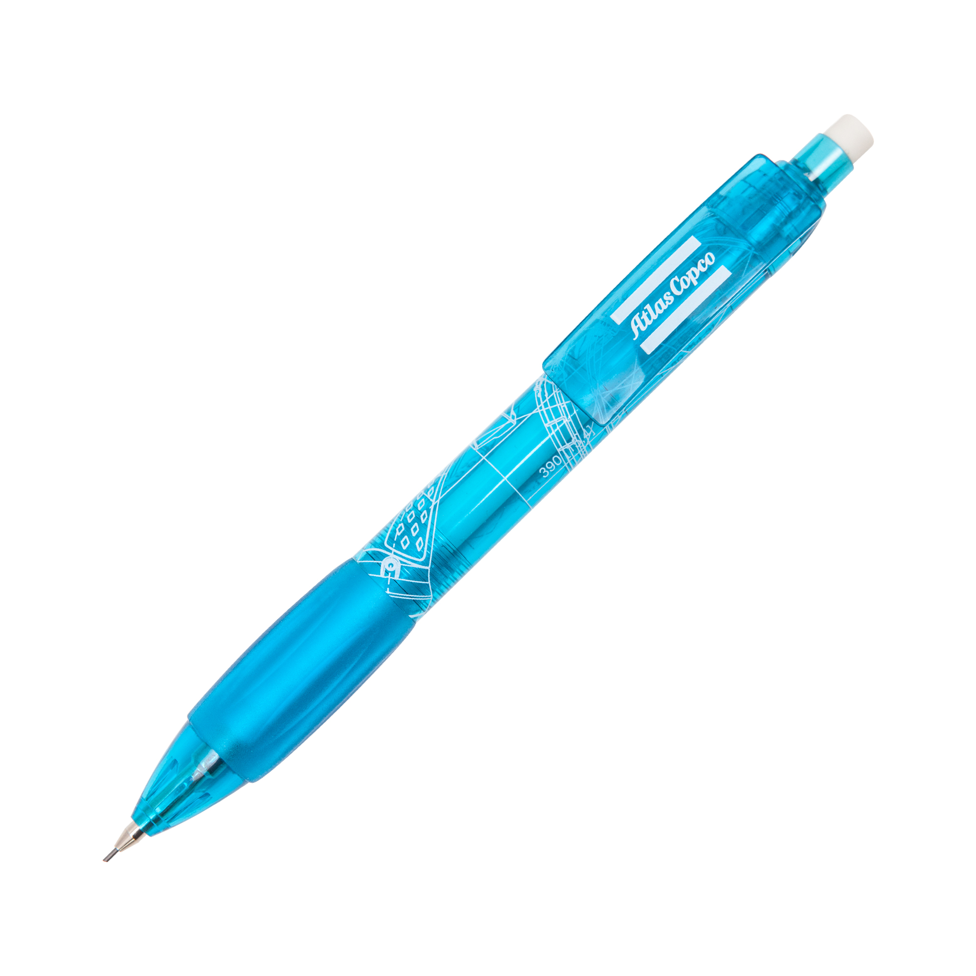 Pencil in Atlas Copco blue with 0,7 mm pin. The pencils are delivered in an Atlas Copco paper box. The BluePrint pattern is based on Atlas Copco´s key innovations. By merging blueprints from all Atlas Copcos business areas, a unique graphic pattern has been created.