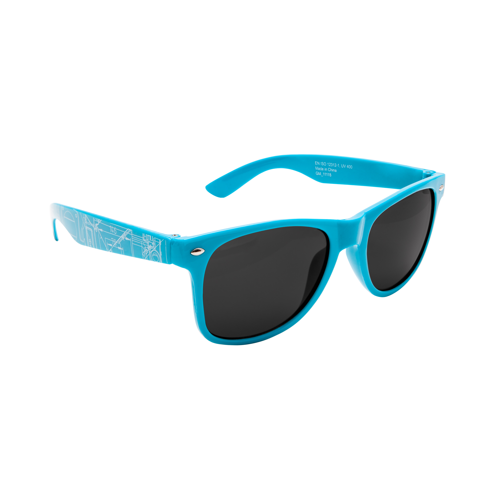 Classical sunglasses with new BluePrint design. These sunglasses are Compliant with UV Standard EN ISO 12312-1, UV 400 and passed stringent lens ball drop tests. PC plastic.