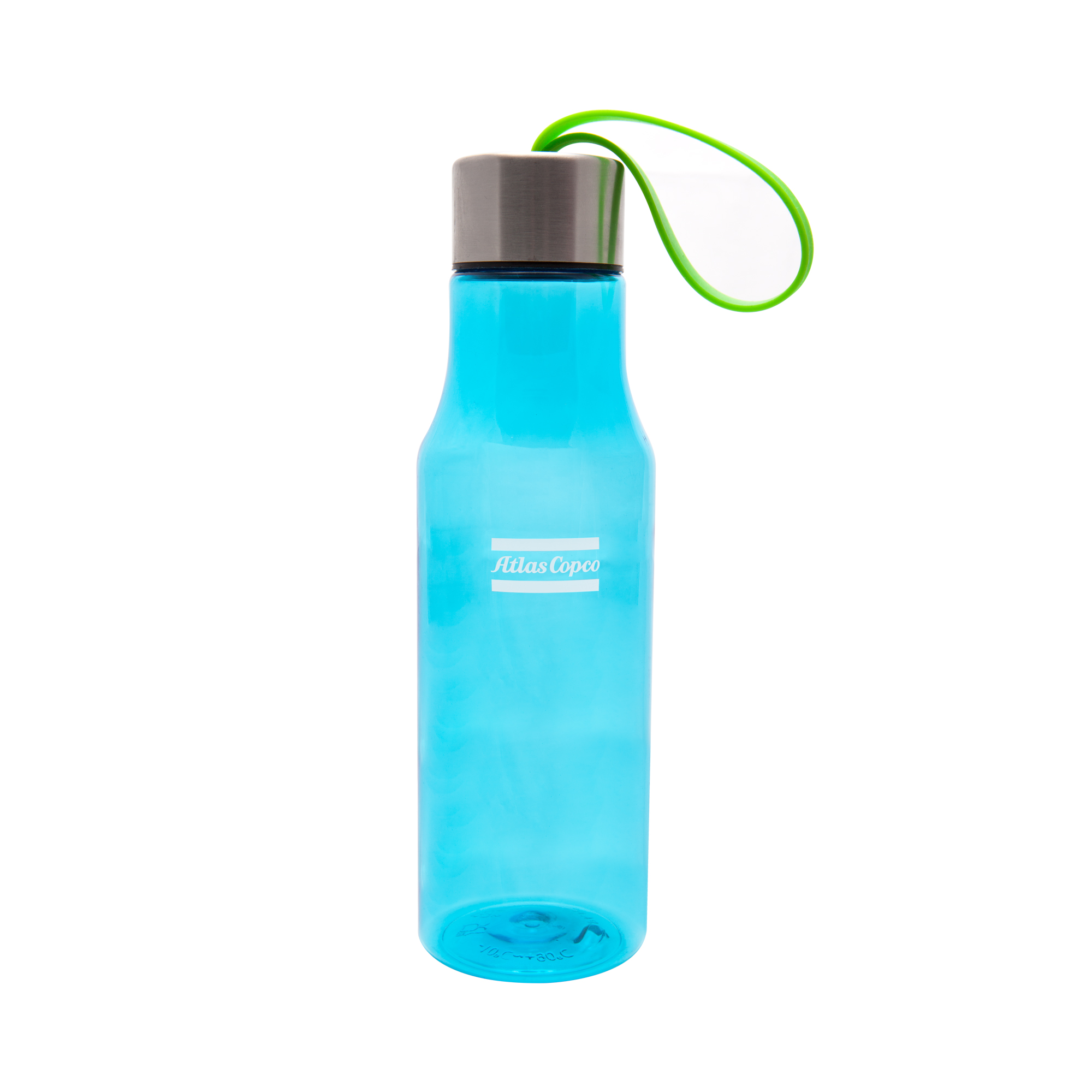 Fill this Atlas Copco designed bottle with fresh water from the office water cooler or from the tap. The Water Bottle Poseidon is made from Tritan BPA free plastic and the lid is stainless steel. The green rubber chord makes this everyday water bottle convenient to carry and gives it a touch of style. Delivered in an Atlas Copco box.
