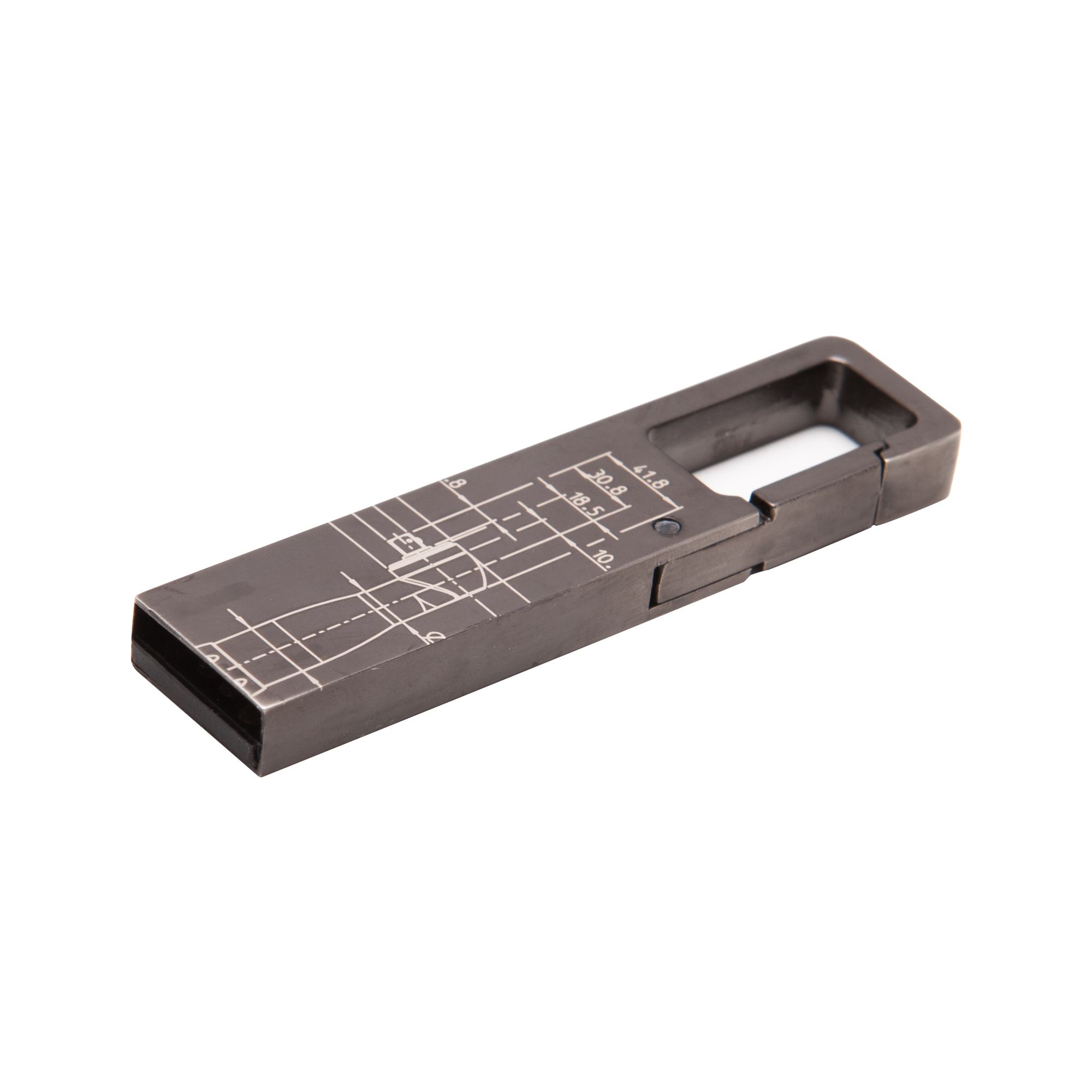 A USB memory unit made in dark gunmetal with a smart clip function. This small USB helps you store and move your files, pictures and documents in style. The BluePrint pattern is based on Atlas Copco´s key innovations. Delivered in matchbox in EVA.