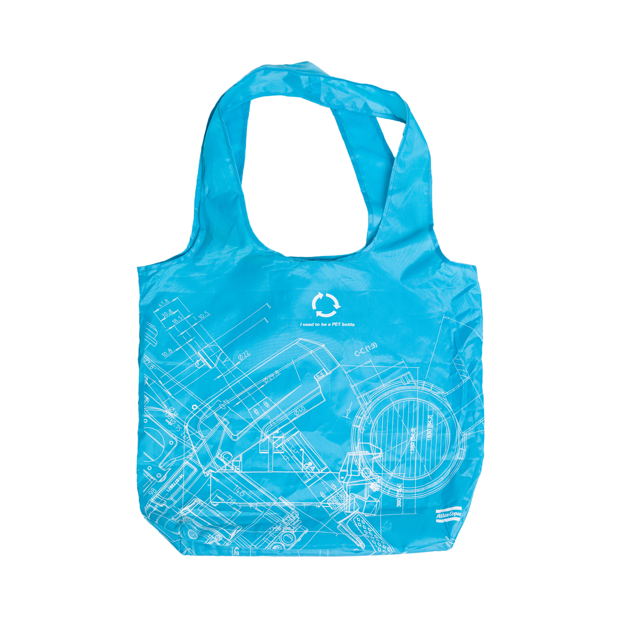 These foldable shopping bags are made from 100% recycled plastic bottles. They have a handy pouch stitched into the bag and will easily fit in your handbag, briefcase or coat pocket.