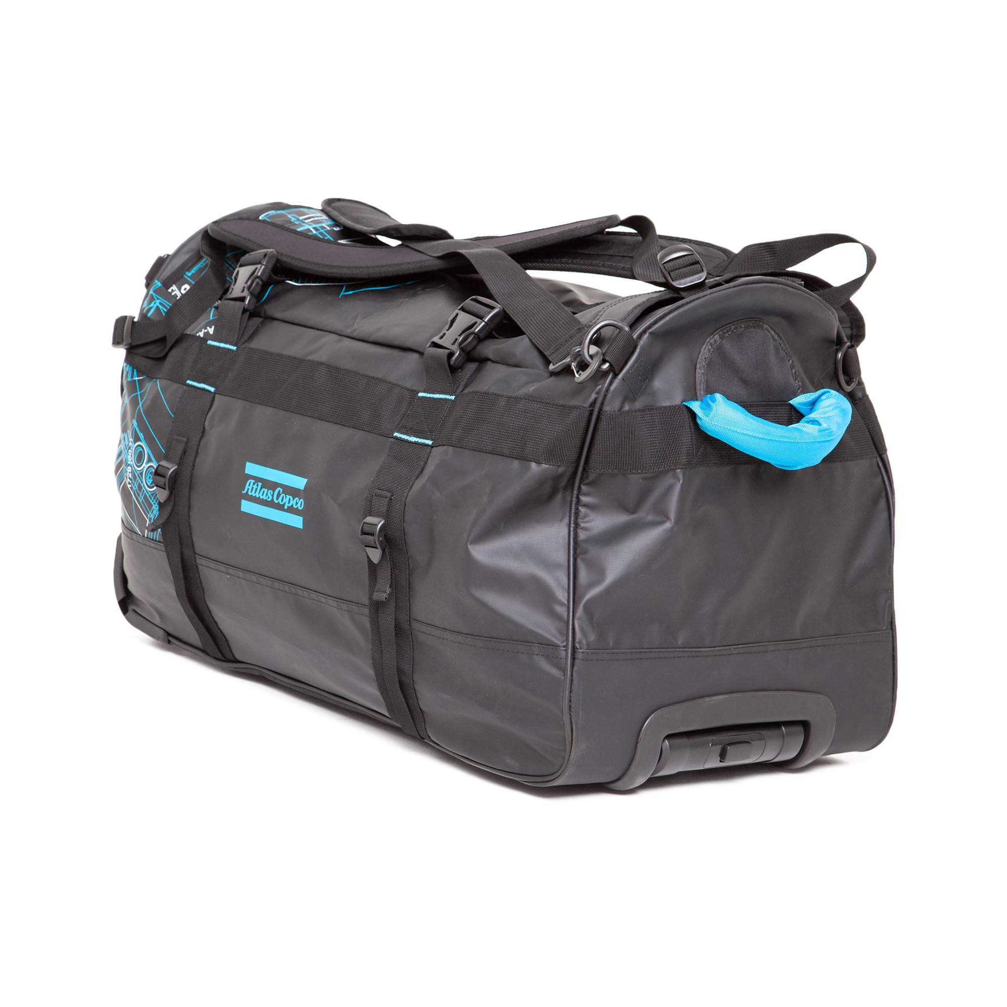 This Trolley Bag is a classic, multi-functional wheeled trolley bag in highly durable 500D Tarpaulin. A large 100-litre travel bag with a fully extendable handle. The bag is water-repellent.