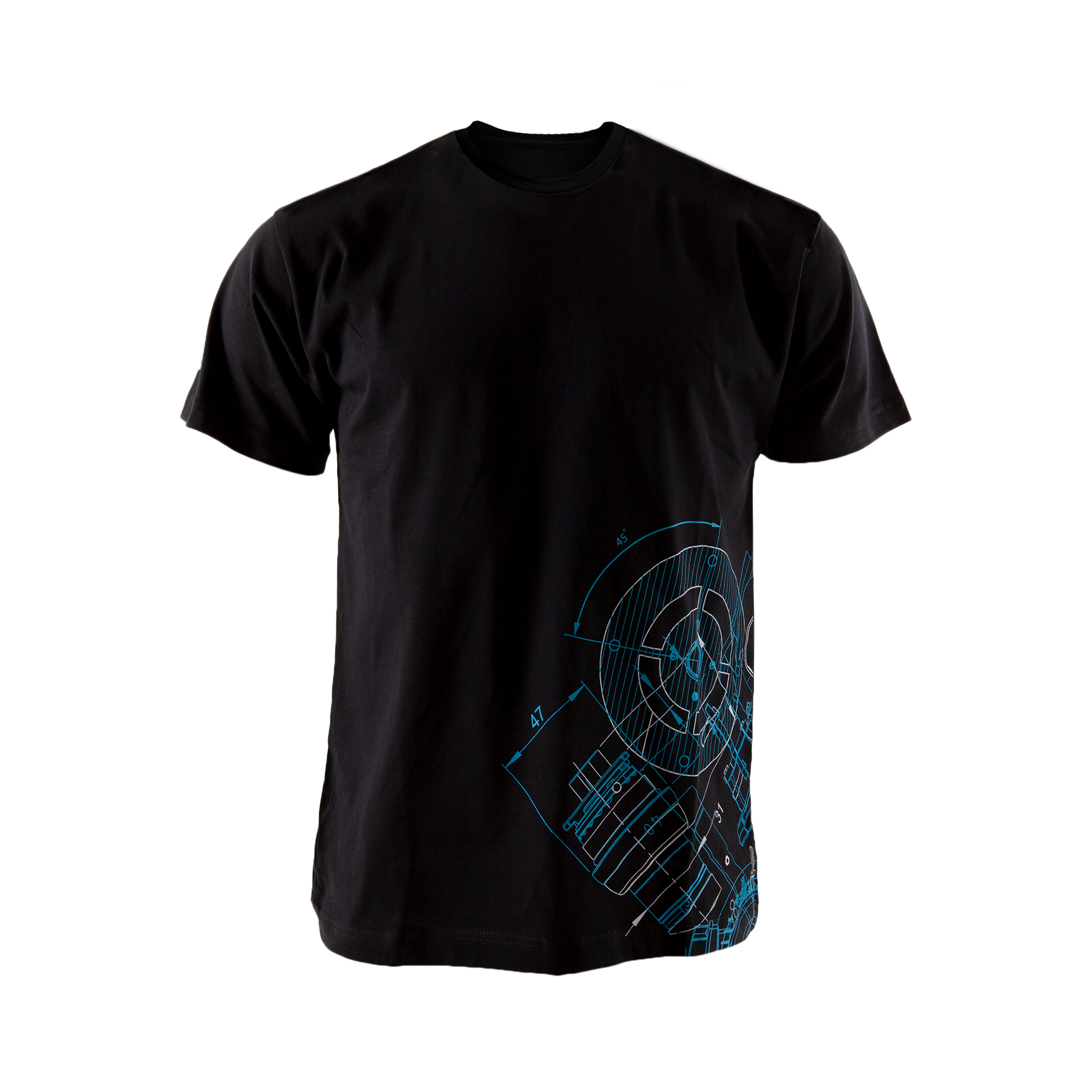 This tee tells a story of innovations. The BluePrint pattern is based on Atlas Copco´s key innovations.