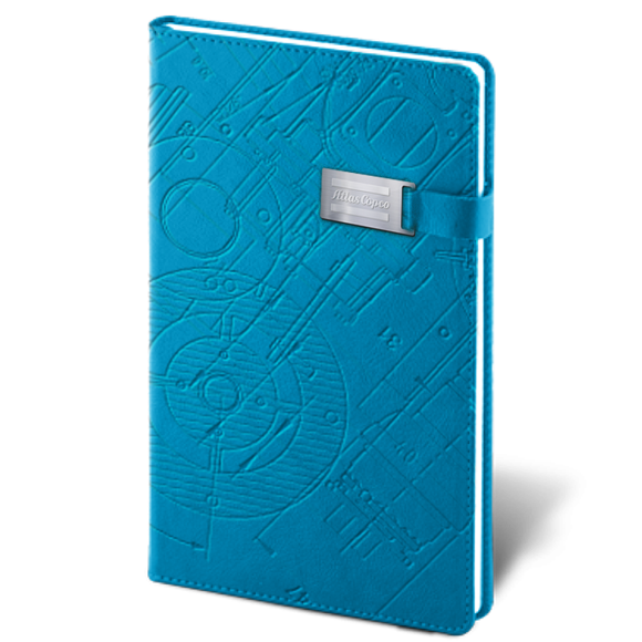 High quality notebook in A5 size. Made with a lot of extra care put into the details. Magnetic metal closure, debossed Blueprint artwork, dotted lines, 2 inner satin cords.