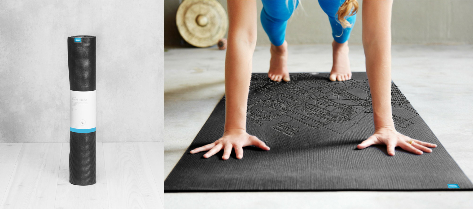 Enjoy your asanas with a yoga mat with nice look and feel. The mat provides you with very good grip on both floor and hands/feet. The Blueprint pattern is debossed into the material on one side.
